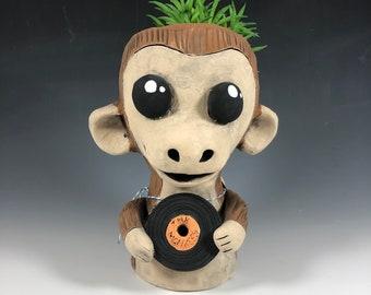 Vinyl Loving Monkey Ceramic Planter // Adorable Monkey Succulent Pothead