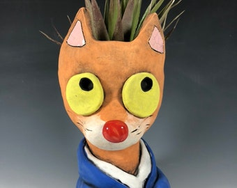 Truman Orange Cat Ceramic Planter // Original Pothead Collection // Adorable Orange Cat Pothead