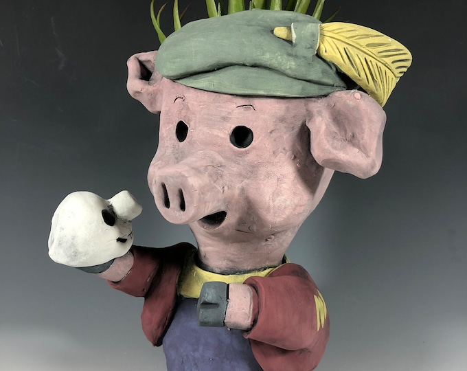 Featured listing image: Hamlet the Pig Ceramic Planter // Adorable Pig Succulent Pot