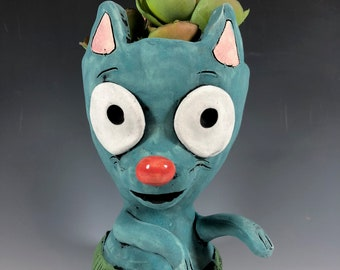 Hula Cat // Hawaiian // Adorable Kitten // Adorable Succulent Pot // Cat Planter // Ceramic Pot // Cat Lover // Turquoise Pot // Air Plants