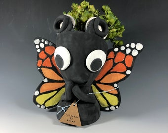 Adorable Monarch Butterfly Pothead Planter // Butterfly Succulent Pot