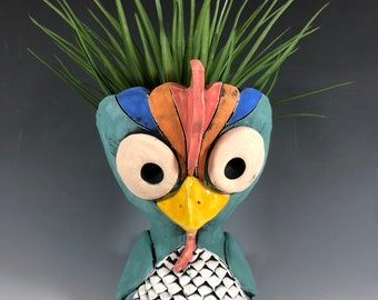 Adorable Chicken Planter // Succulent Pot // Ceramic // Small Sculpture / Great Gift // Home Decor // Bird // Cute