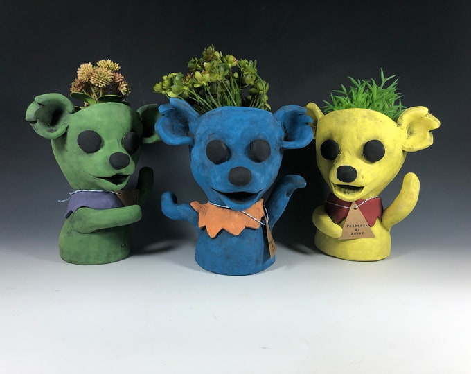 Grateful Dead Bears Ceramic Potheads // Grateful Dead Bear Succulent Pots