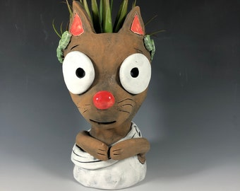 Caesar the Cat Succulent Planter // Ceramic Toga Cat Pothead