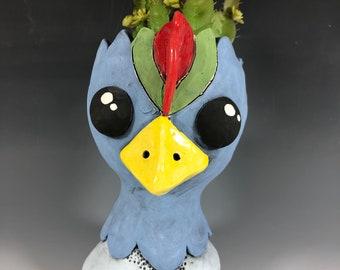 Cornflower Chicken Pothead // Ceramic Chicken Pothead