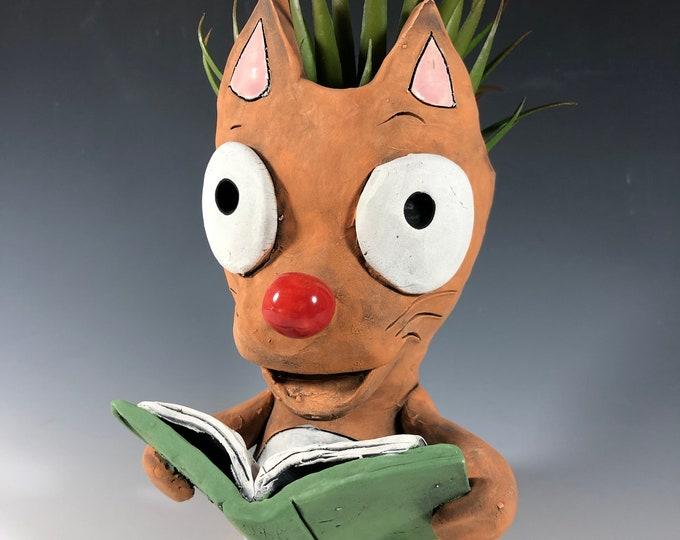 Book Club Cat Succulent Planter //  Ceramic Kitten Pothead