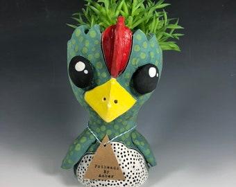 Pox Chicken Pothead // Ceramic Chicken Planter