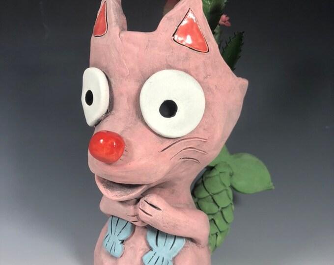 Little Pink Mercat Planter // Ceramic Pink Mermaid Cat Succulent Pothead