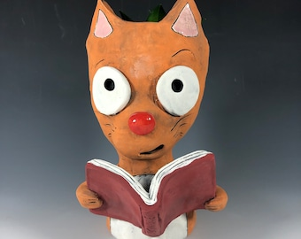 Orange Book Cat Succulent Planter // Cat Ceramic Pot