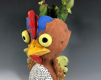 Charlie the Chicken // Succulent Pot // Planter // Farm Animal // Home Decor // Small Sculpture // Pottery // Ceramics