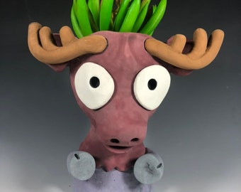 Marty Moose Ceramic Planter // Adorable Moose Succulent Pothead
