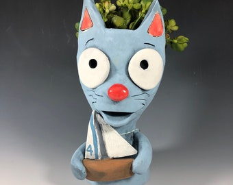 Little Blue Cat Ceramic Planter // Kitty Cat with Sailboat Pothead