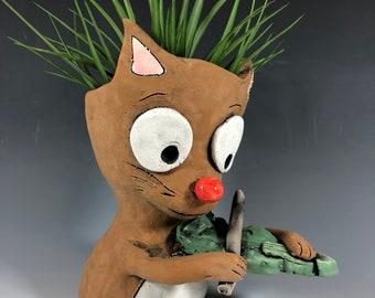Kitten Violinist // Succulent Pot // Adorable Animal Planter // Cute Pothead // Small Sculpture // Gift // Music Lover // Brown Kitten