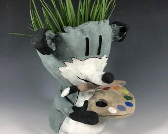 Carafoxio Artist Fox // Small Sculpture // Pottery // Gray //Succulent Pot // Painter // Cute // Adorable // One of a kind // Pothead