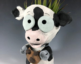 Cookie Cow Succulent Planter // Ceramic Cow Pothead