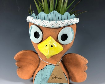 Saffron Orange Owl Ceramic Planter // Little Orange Owl Pothead