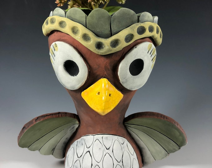 Featured listing image: Sage Owl Succulent Planter // Ceramic Fall Colored Owl Pothead