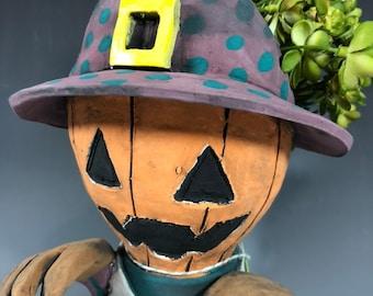 Jack O Lantern Adorable Succulent Planter // Ceramic Pumkin Pothead