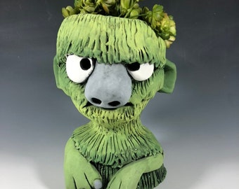 Green Succulent Planter // Green Monster Ceramic Planter // Funny Little Monster  Pothead