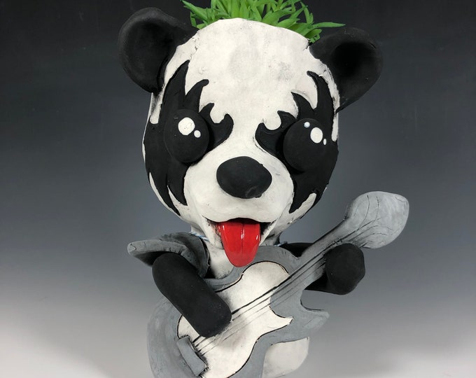 Rockin' Kiss Panda with guitar Pothead // Panda Ceramic Planter