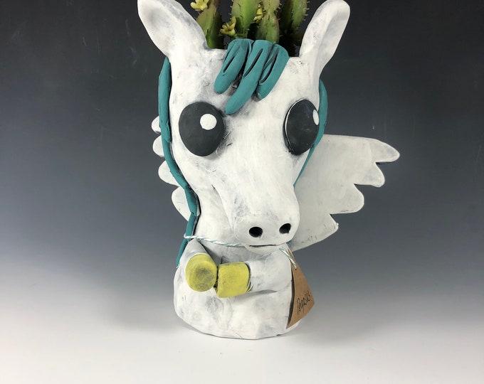 Pegasus Ceramic Planter // Winged Horse Pothead
