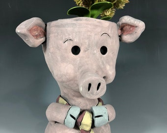 Stuart the Pig Succulent Planter // Ceramic Pig Pothead