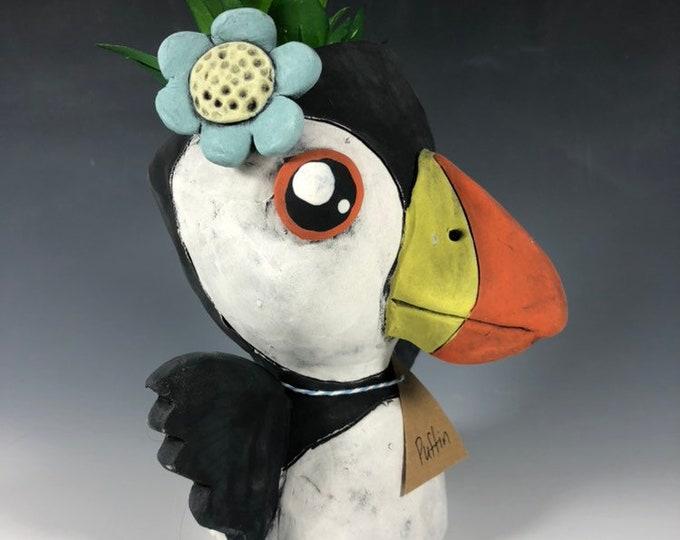 Polly Puffin Pothead // Ceramic Puffin Pothead