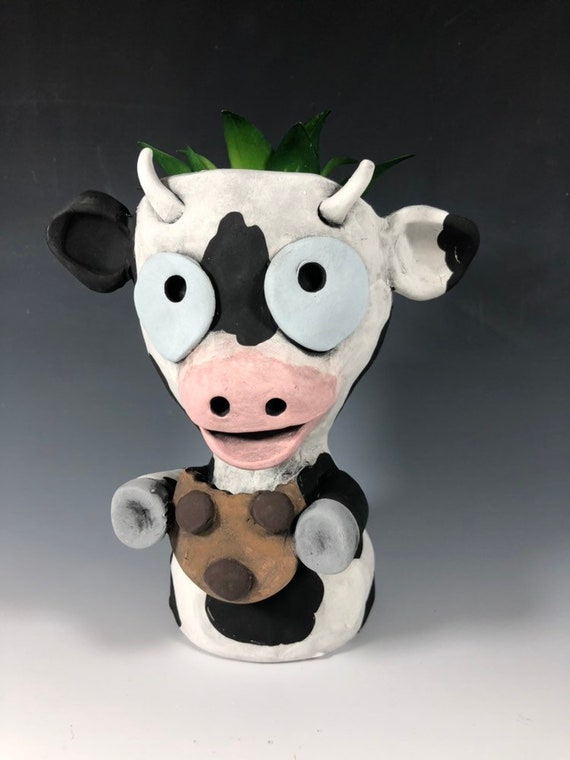 Little Cookie Cow Planter // Ceramic Cow Pothead