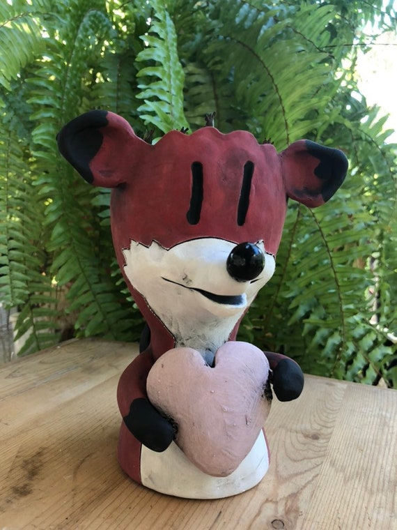 Little Love Fox Planter // Red Fox with Pink Heart Pothead