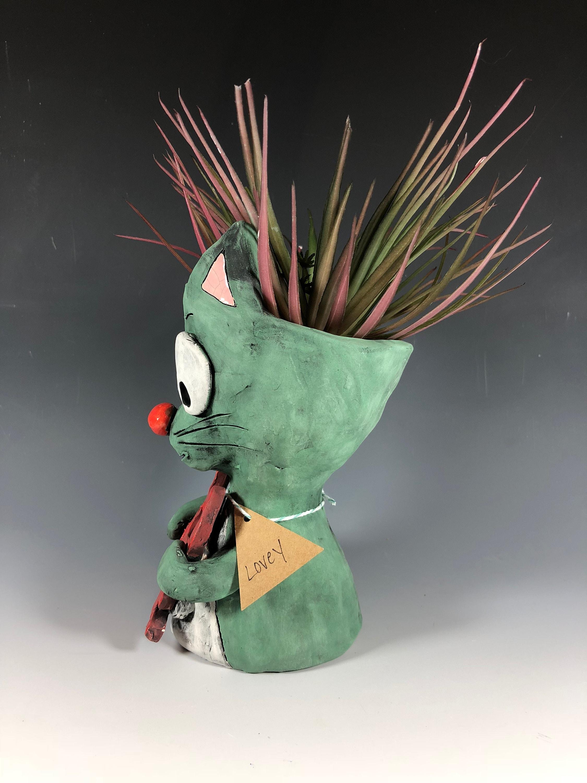 Lovey Cat Turquoise Small Planter Succulent Pot Animal Handmade Pothead