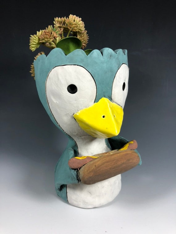 Penguin with Hot Dog Ceramic Planter // Adorable Penguin Succulent Pot
