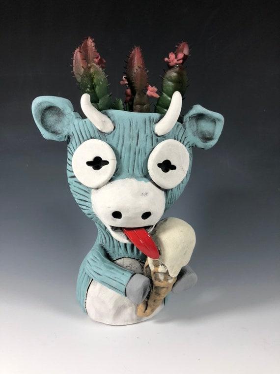 Ice Cream the Ceramic Goat Planter // Adorable Goat Succulent Pothead