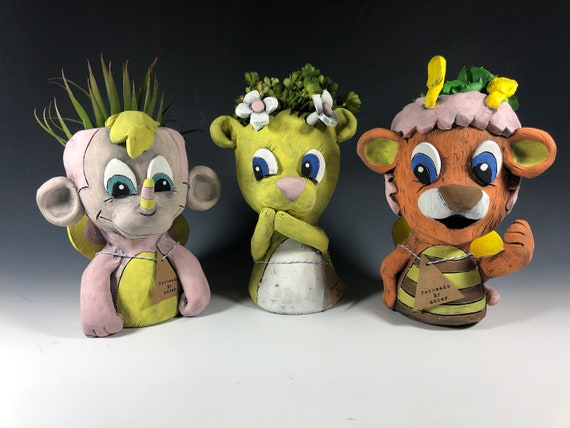Wuzzles Children Cartoon Planters // Adorable Eighties Potheads