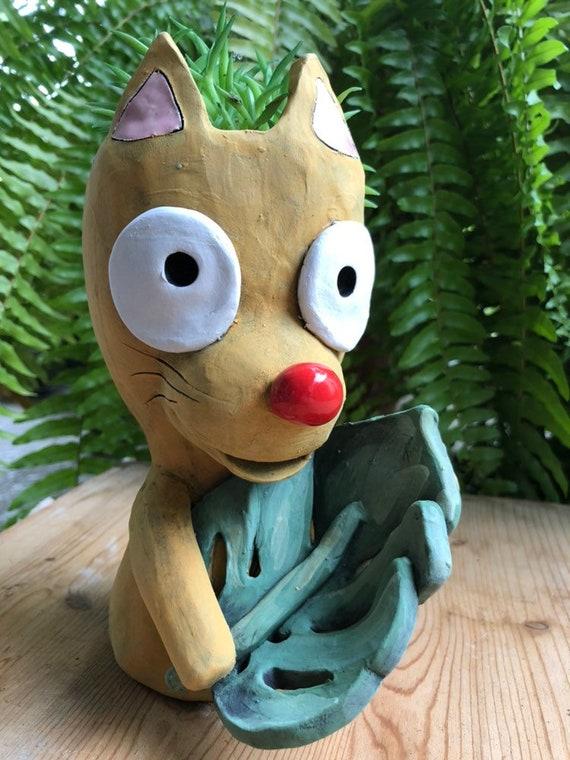 Monstera Loving Kitty Ceramic Planter // Adorable Kitty Succulent Pot // Pothead