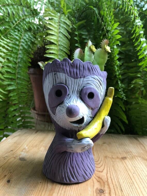 Sloth on a Banana Phone Succulent Planter // Adorable Sloth Ceramic Pot // Pothead