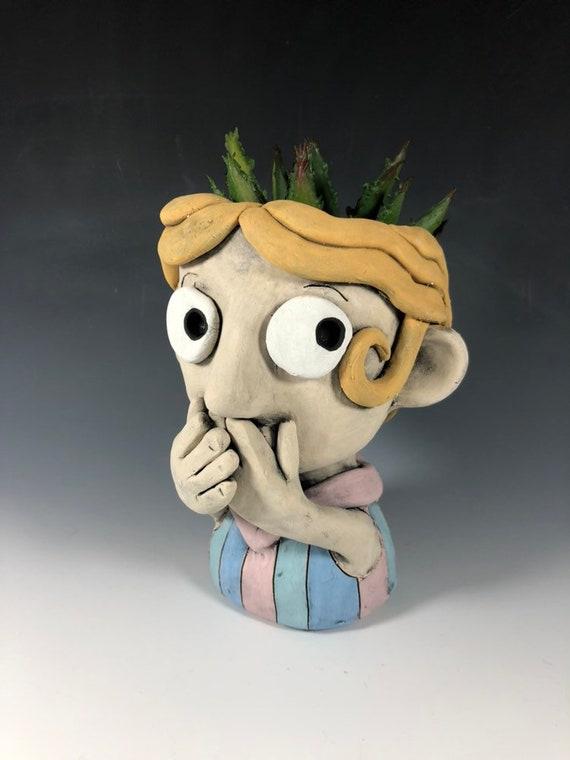 Inez Blonde Character Face Planter // Original Collection Pothead // Succulent Face Pot