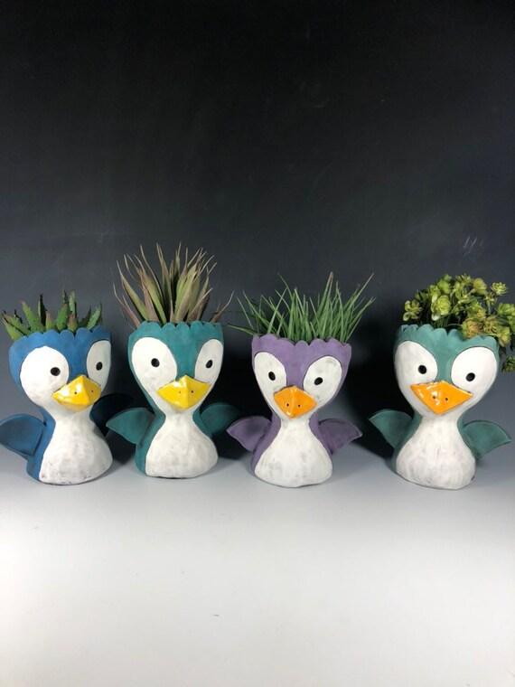 Penguin Peeps Succulent Planter // Adorable Penguin Ceramic Pothead