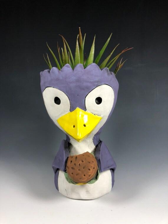 Penguin with Hamburger Ceramic Pot  // Penguin Succulent Planter