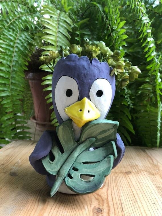 Penguin Ceramic Planter // Adorable Little Peeky Penguin Succulent Pot // Pothead