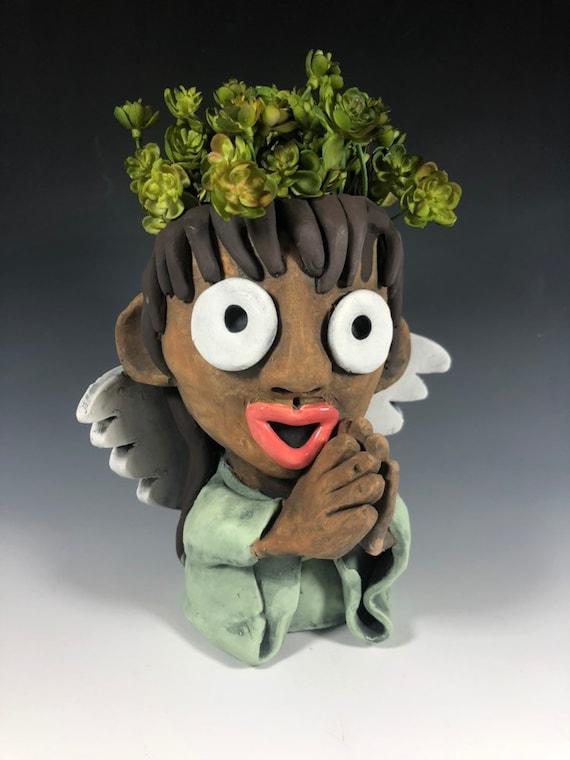 Adorable Angel Succulent Planter // Small Angel Girl Pot // Pothead