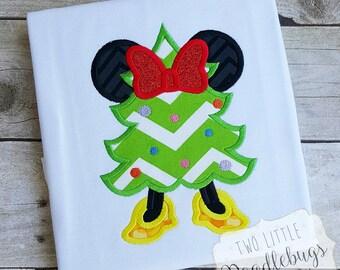 Minnie Mouse Christmas Tree-Christmas Shirt-Christmas Tree-Minnie Mouse Shirt-Disney embroidered shirt-Girls Shirt