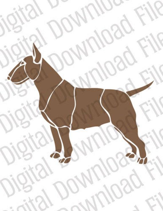 Vector Stencil Graphic Dd162 English Bull Terrier Digital Etsy