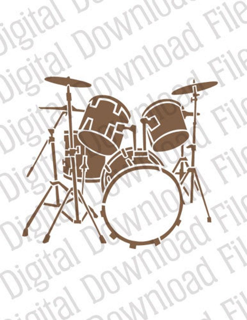 Vector Stencil Graphic - DD115 Drum Kit - DIGITAL DOWNLOAD - Ai & Svg -  Fully Editable Stencil Vinyl Ready - Music Beat Rock Acoustic Reggae
