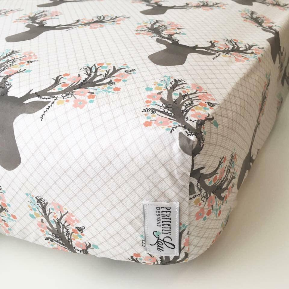 Floral Deer Standard Crib Sheet Changing Pad Cover Baby Etsy