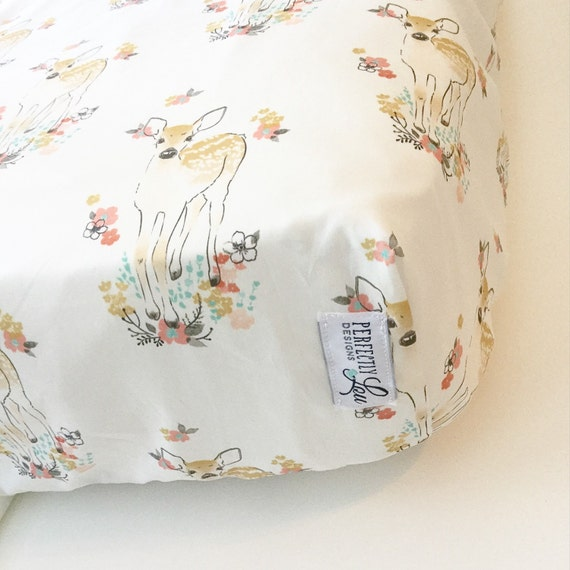 Floral Fawn Standard Crib Sheet Changing Pad Cover Baby