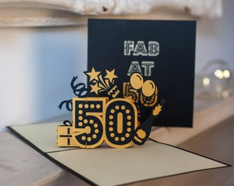 50th Birthday Card Pop Up Gift 3D Cards Handmade Greeting By Cardology
