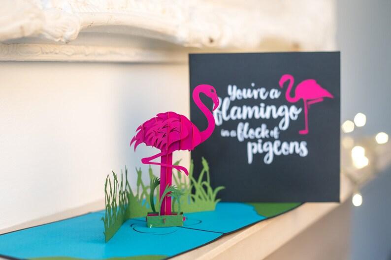 Flamingo Pop Up Card 3D Birthday