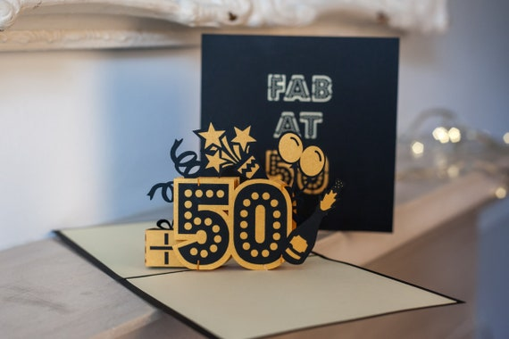 50th Birthday Card Pop Up Gift 3D Cards