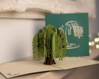 Weeping Willow Tree Pop Up Card, Sympathy Card, handmade pop up cards UK