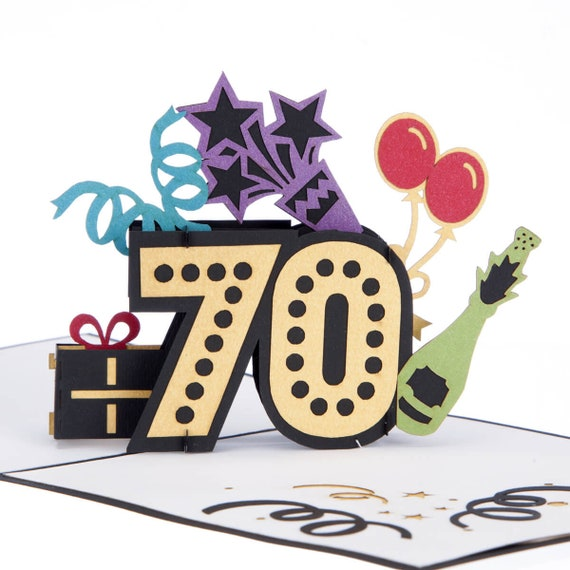 Awesome 70Th Birthday Card Birthday Pop Up Card 70Th T Handmade Etsy Funny Birthday Cards Online Inifofree Goldxyz